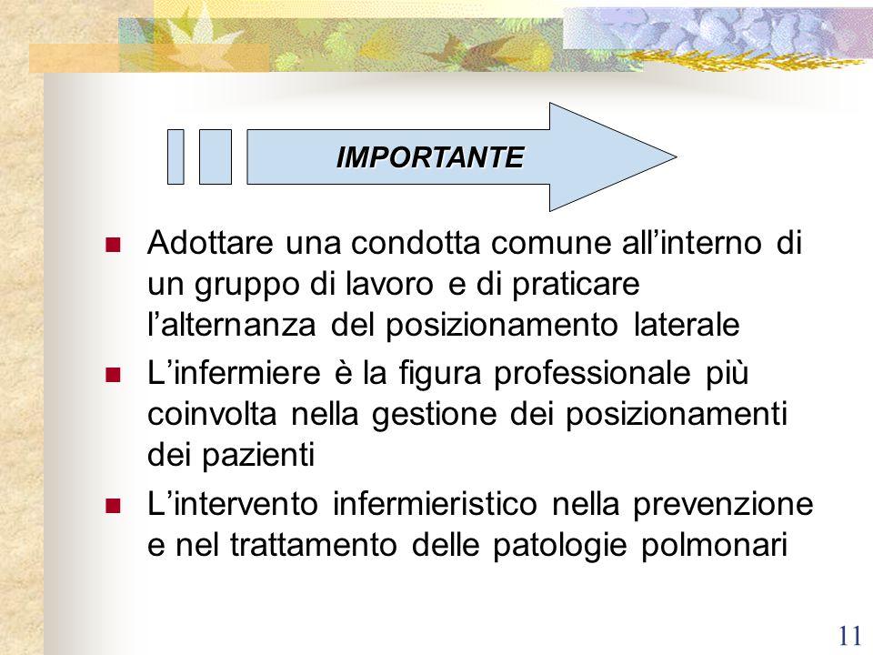11 Adottare una condotta comune all'interno di un gruppo di lavoro e di praticare l'alternanza del posizionamento laterale L'infermiere è la figura pr