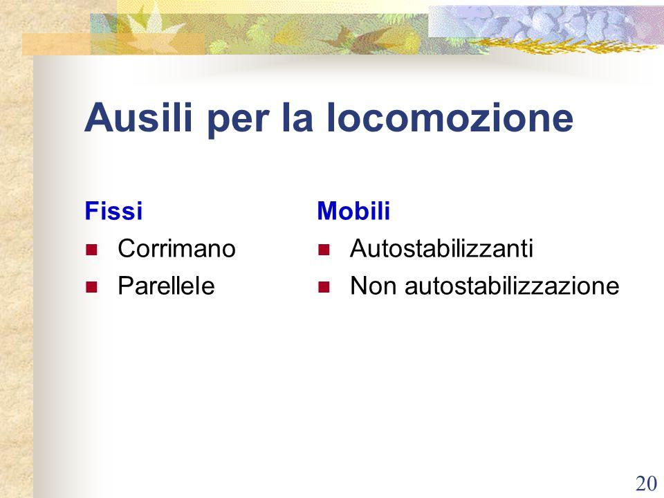 20 Ausili per la locomozione Fissi Corrimano Parellele Mobili Autostabilizzanti Non autostabilizzazione