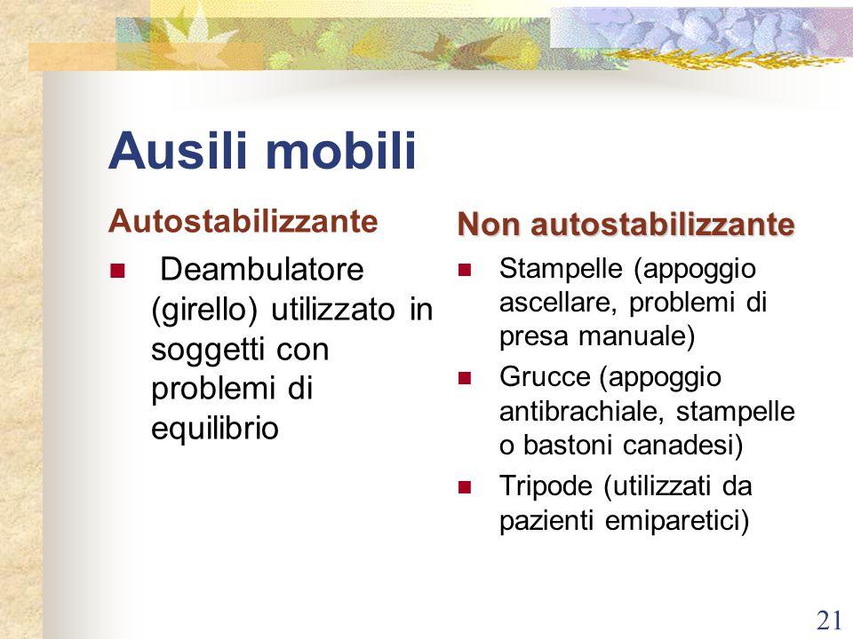 21 Ausili mobili Autostabilizzante Deambulatore (girello) utilizzato in soggetti con problemi di equilibrio Non autostabilizzante Stampelle (appoggio