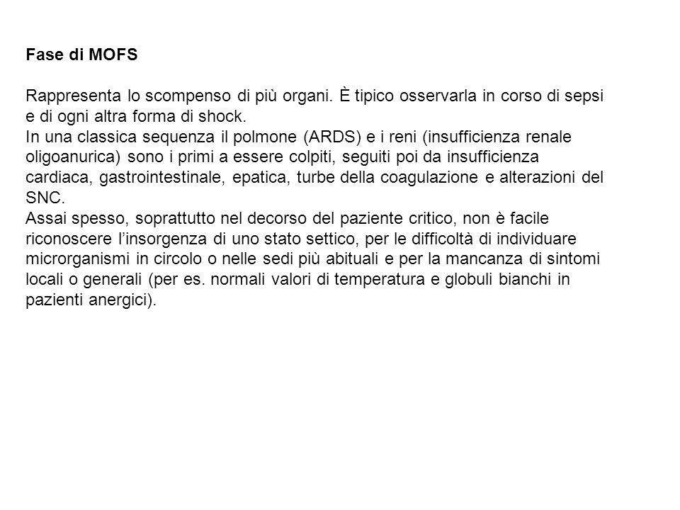 Fase di MOFS Rappresenta lo scompenso di più organi.