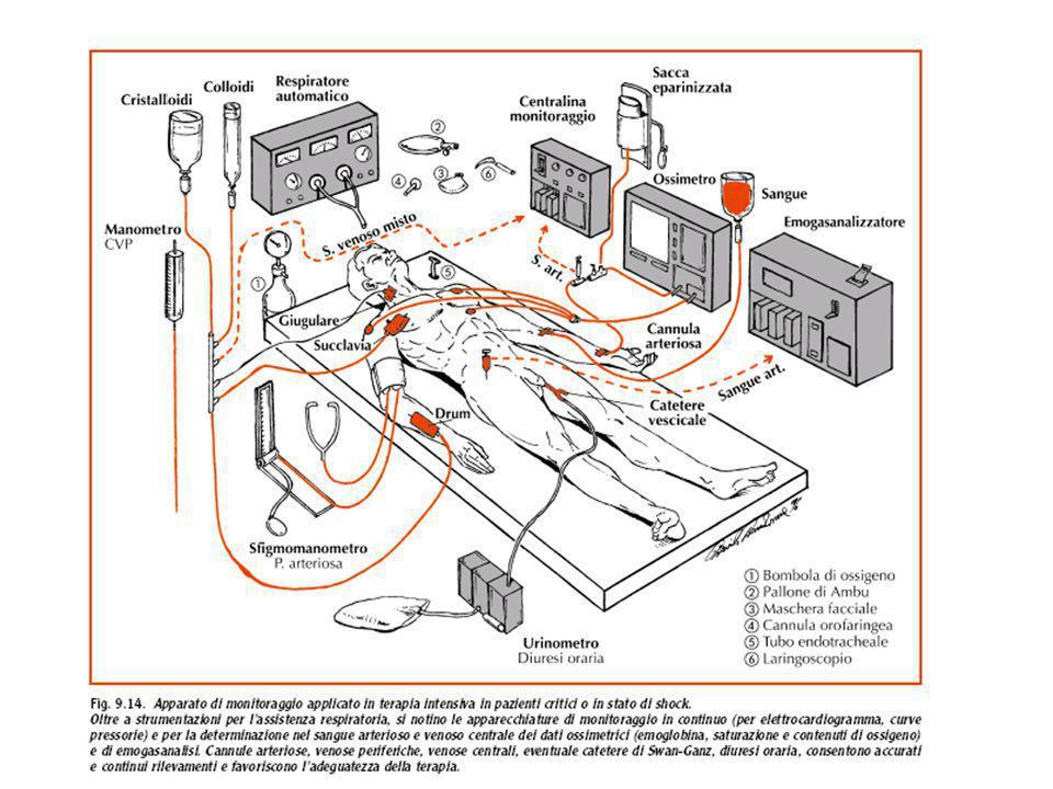 Procedure diagnostico-terapeutiche in caso di shock quale evento acuto Controllo ventilazione e attività cardiaca (di fronte a un paziente in coma, la valutazione cardiorespiratoria precede o è contemporanea alla cateterizzazione venosa);può essere necessario effettuare: intubazione tracheale e/o assistenza del respiro; massaggio cardiaco e successiva terapia per l'arresto cardiaco.
