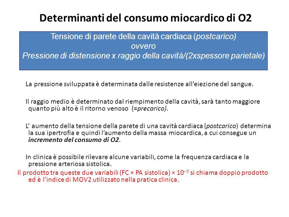 Determinanti del consumo miocardico di O2 La pressione sviluppata è determinata dalle resistenze all'eiezione del sangue. Il raggio medio è determinat