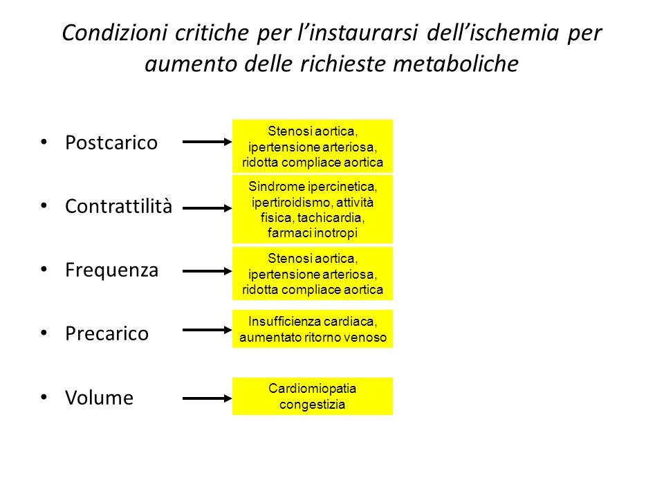 Condizioni critiche per l'instaurarsi dell'ischemia per aumento delle richieste metaboliche Postcarico Contrattilità Frequenza Precarico Volume Stenos