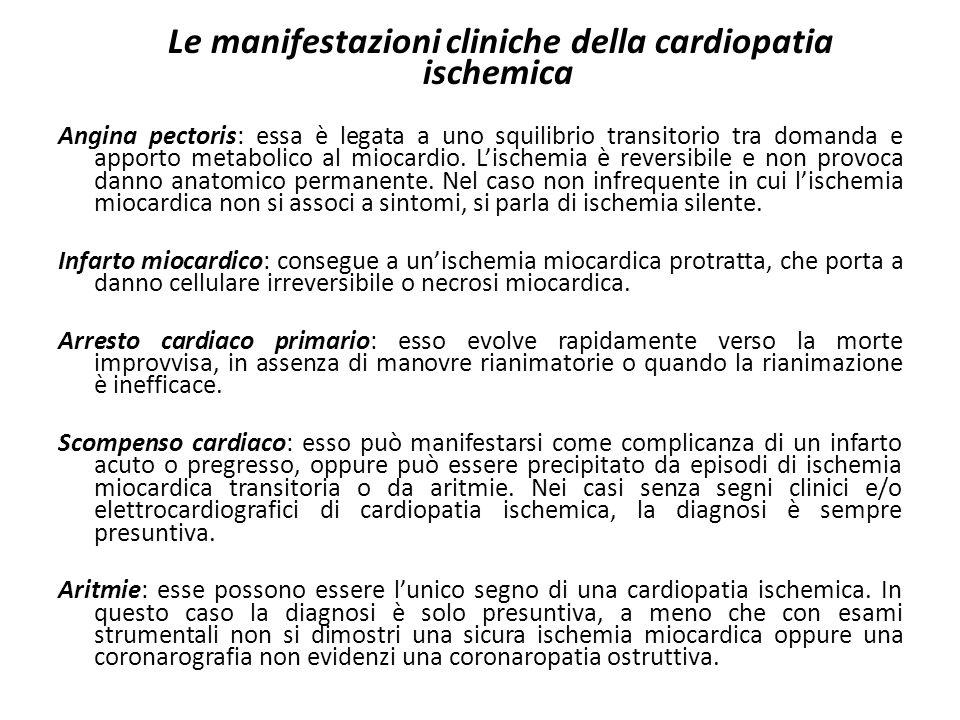 Le manifestazioni cliniche della cardiopatia ischemica Angina pectoris: essa è legata a uno squilibrio transitorio tra domanda e apporto metabolico al
