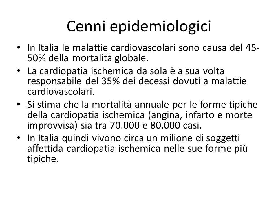 Cenni epidemiologici In Italia le malattie cardiovascolari sono causa del 45- 50% della mortalità globale. La cardiopatia ischemica da sola è a sua vo