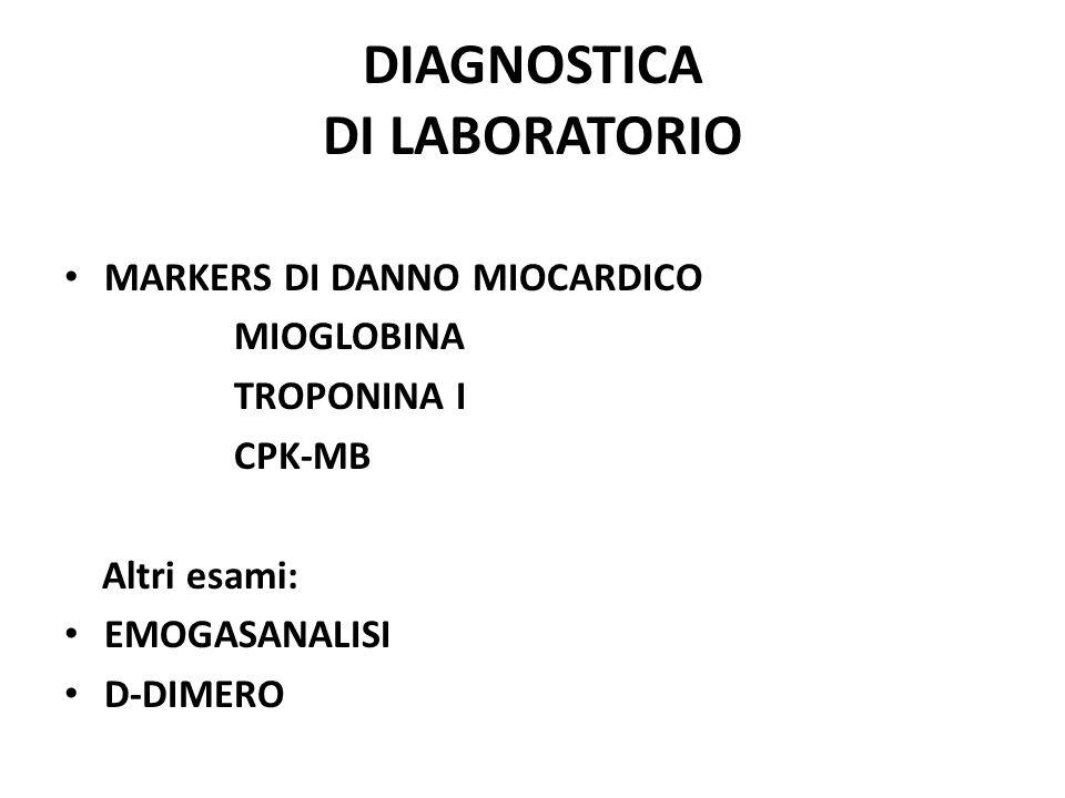 DIAGNOSTICA DI LABORATORIO MARKERS DI DANNO MIOCARDICO MIOGLOBINA TROPONINA I CPK-MB Altri esami: EMOGASANALISI D-DIMERO