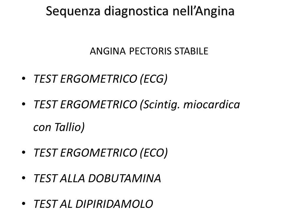 Sequenza diagnostica nell'Angina ANGINA PECTORIS STABILE TEST ERGOMETRICO (ECG) TEST ERGOMETRICO (Scintig. miocardica con Tallio) TEST ERGOMETRICO (EC