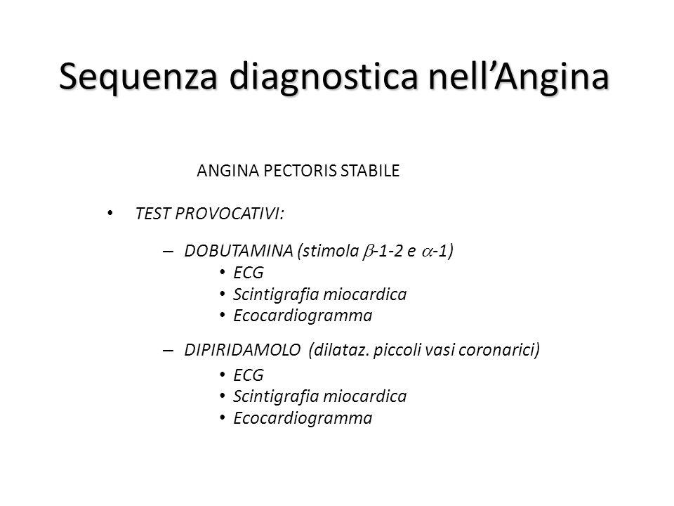 Sequenza diagnostica nell'Angina ANGINA PECTORIS STABILE TEST PROVOCATIVI: – DOBUTAMINA (stimola  -1-2 e  -1) ECG Scintigrafia miocardica Ecocardiog