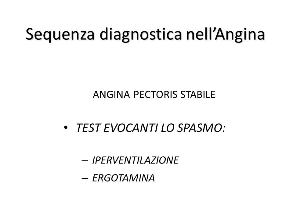Sequenza diagnostica nell'Angina ANGINA PECTORIS STABILE TEST EVOCANTI LO SPASMO: – IPERVENTILAZIONE – ERGOTAMINA