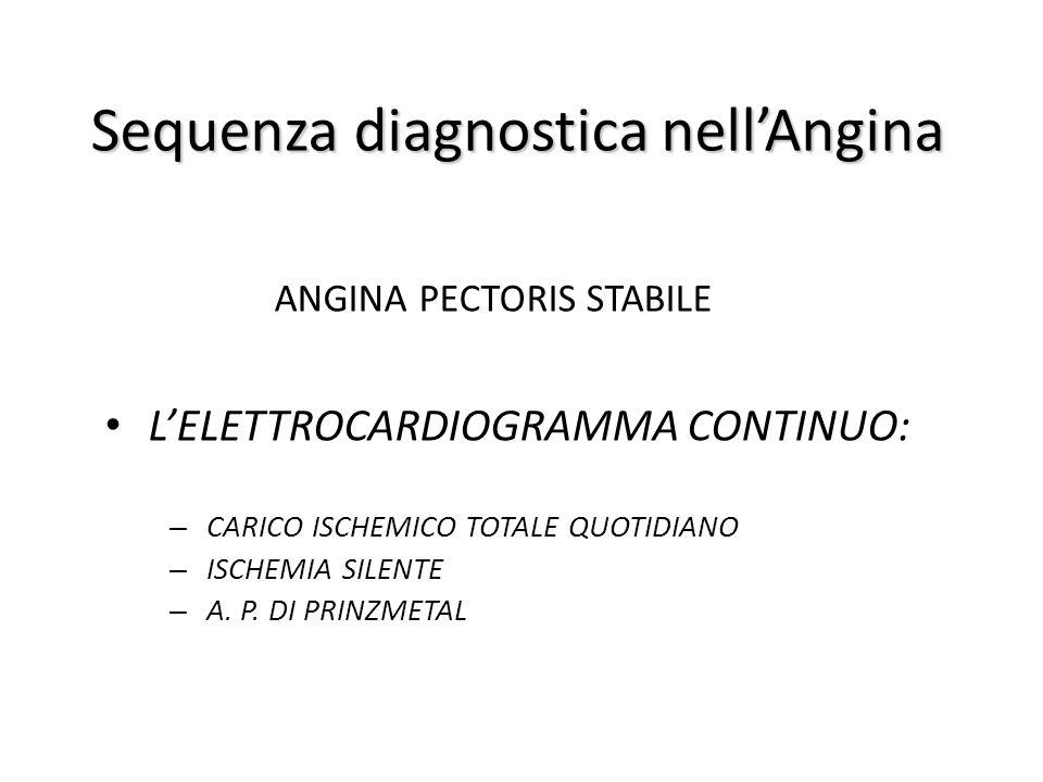 Sequenza diagnostica nell'Angina ANGINA PECTORIS STABILE L'ELETTROCARDIOGRAMMA CONTINUO: – CARICO ISCHEMICO TOTALE QUOTIDIANO – ISCHEMIA SILENTE – A.