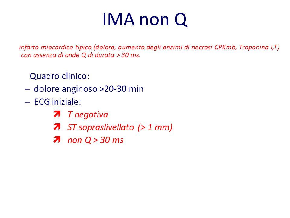 IMA non Q infarto miocardico tipico (dolore, aumento degli enzimi di necrosi CPKmb, Troponina I,T) con assenza di onde Q di durata > 30 ms. Quadro cli