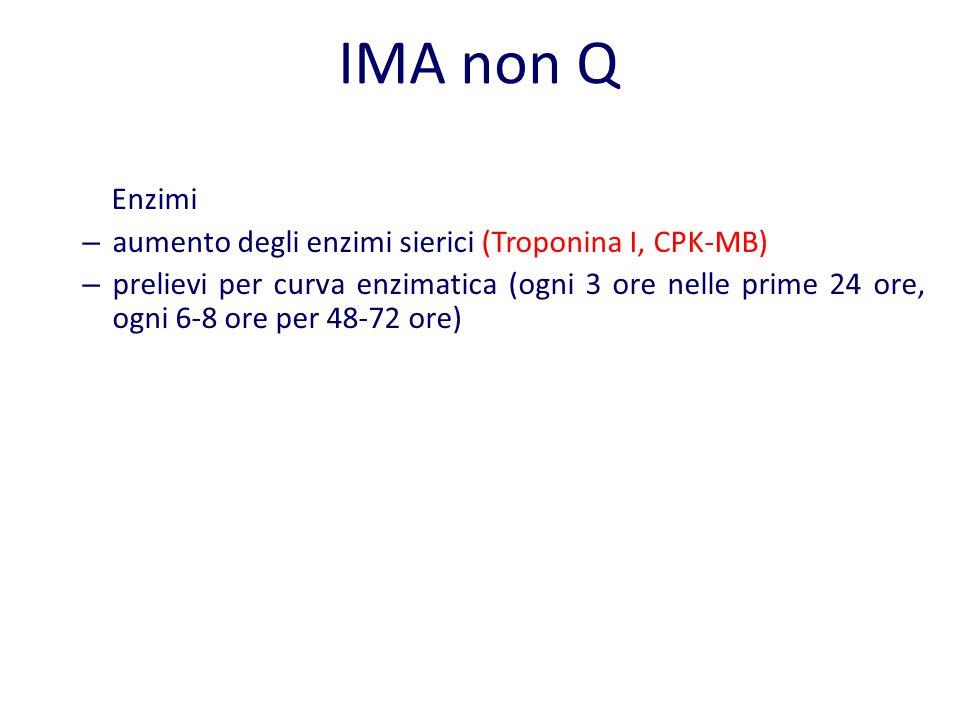 IMA non Q Enzimi – aumento degli enzimi sierici (Troponina I, CPK-MB) – prelievi per curva enzimatica (ogni 3 ore nelle prime 24 ore, ogni 6-8 ore per
