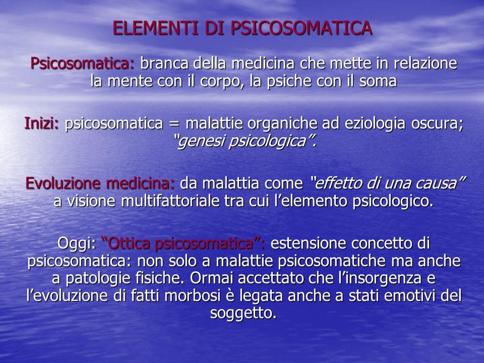 ELEMENTI DI PSICOSOMATICA Psicosomatica: branca della medicina che mette in relazione la mente con il corpo, la psiche con il soma Inizi: psicosomatic