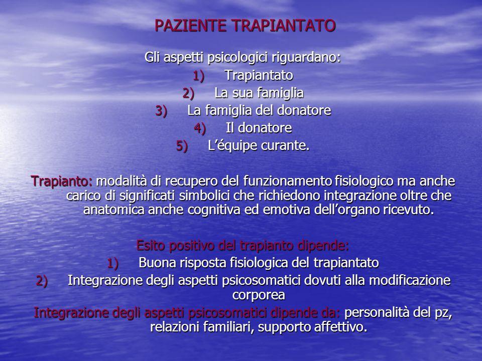 PAZIENTE TRAPIANTATO Gli aspetti psicologici riguardano: 1) Trapiantato 2) La sua famiglia 3) La famiglia del donatore 4) Il donatore 5) L'équipe cura