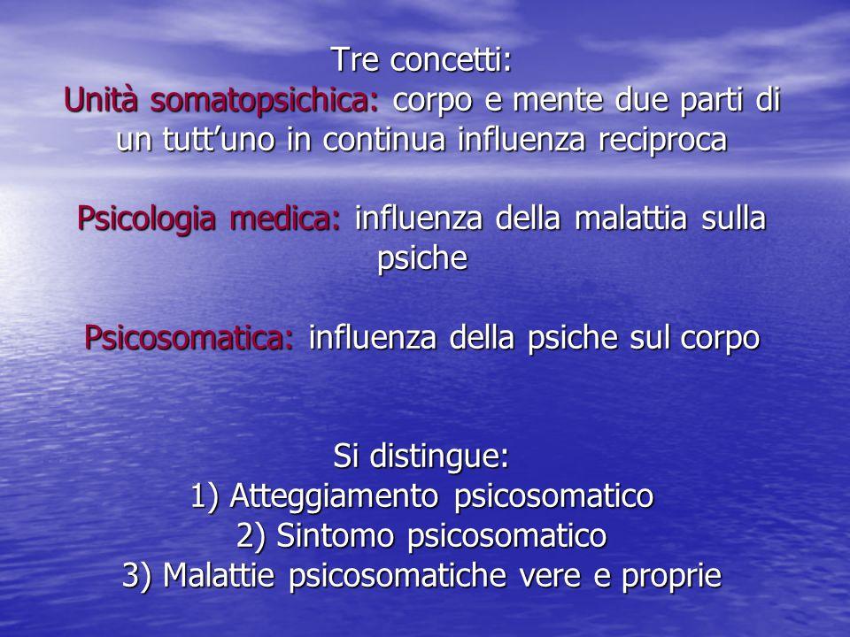 Tre concetti: Unità somatopsichica: corpo e mente due parti di un tutt'uno in continua influenza reciproca Psicologia medica: influenza della malattia