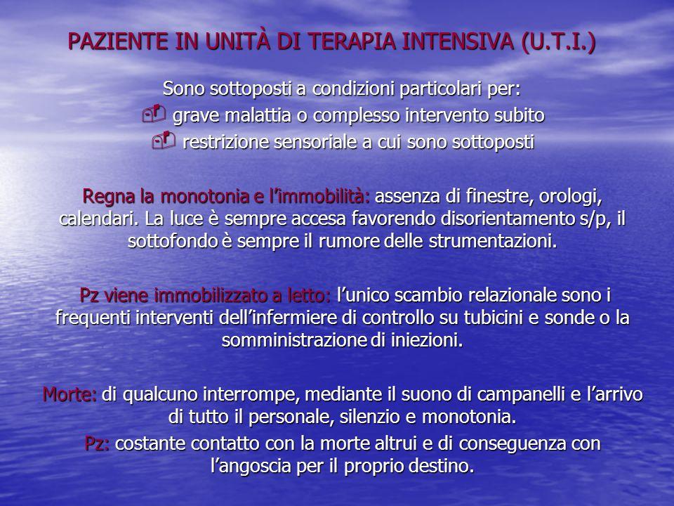 PAZIENTE IN UNITÀ DI TERAPIA INTENSIVA (U.T.I.) Sono sottoposti a condizioni particolari per:  grave malattia o complesso intervento subito  restriz