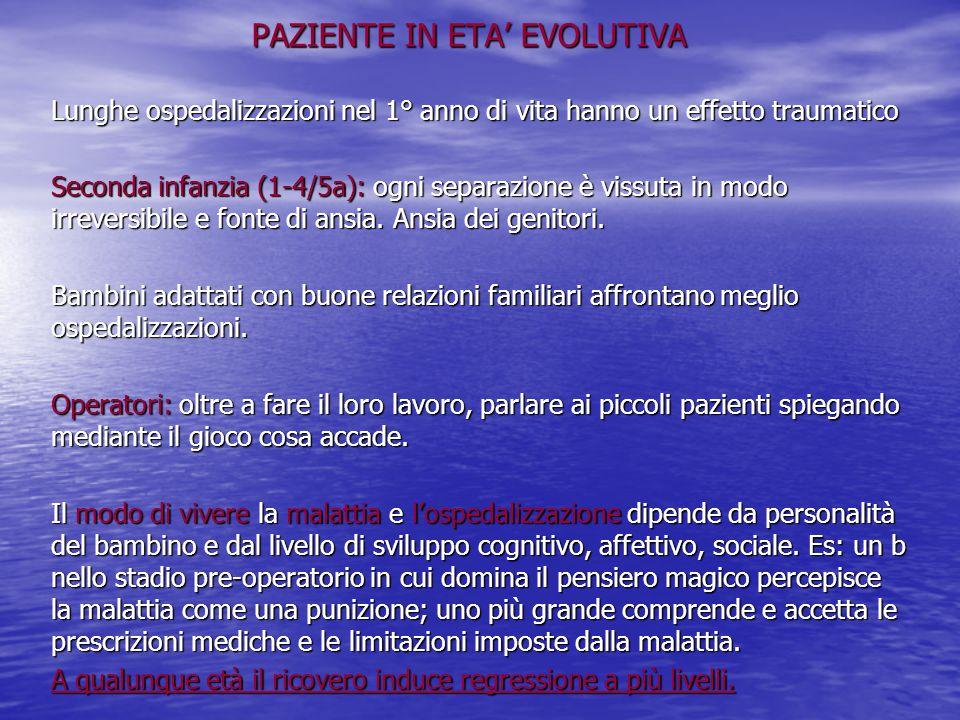 PAZIENTE IN ETA' EVOLUTIVA Lunghe ospedalizzazioni nel 1° anno di vita hanno un effetto traumatico Seconda infanzia (1-4/5a): ogni separazione è vissu