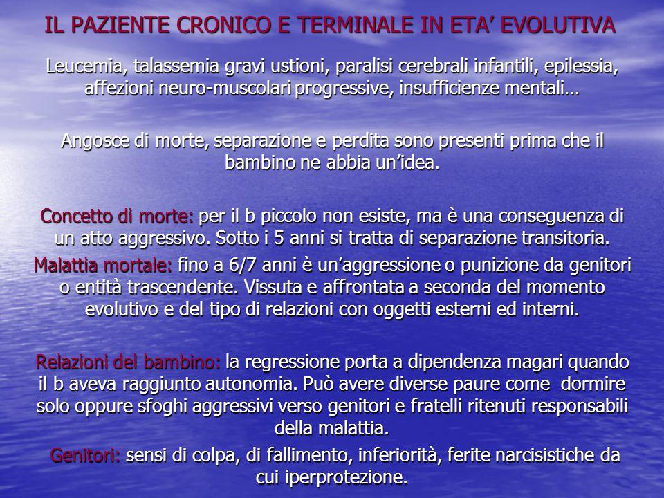 IL PAZIENTE CRONICO E TERMINALE IN ETA' EVOLUTIVA Leucemia, talassemia gravi ustioni, paralisi cerebrali infantili, epilessia, affezioni neuro-muscola