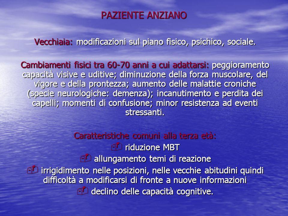 PAZIENTE ANZIANO Vecchiaia: modificazioni sul piano fisico, psichico, sociale. Cambiamenti fisici tra 60-70 anni a cui adattarsi: peggioramento capaci
