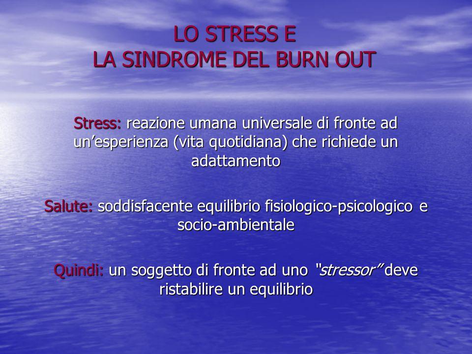 LO STRESS E LA SINDROME DEL BURN OUT Stress: reazione umana universale di fronte ad un'esperienza (vita quotidiana) che richiede un adattamento Salute