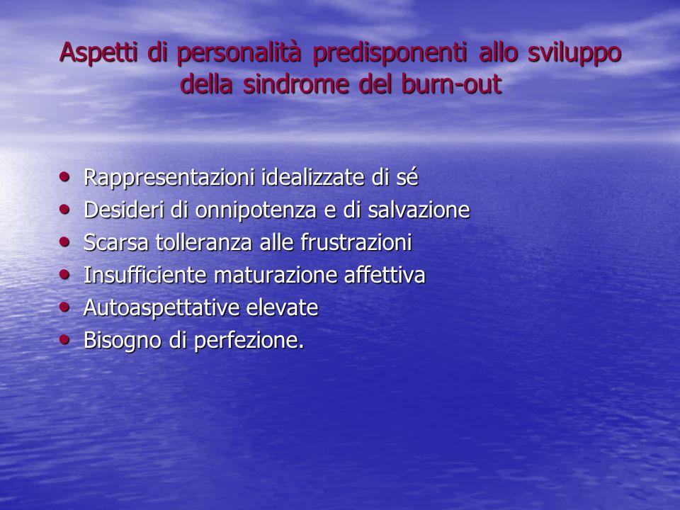 Aspetti di personalità predisponenti allo sviluppo della sindrome del burn-out Rappresentazioni idealizzate di sé Rappresentazioni idealizzate di sé D