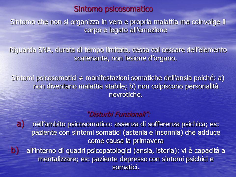 Sintomo psicosomatico Sintomo che non si organizza in vera e propria malattia ma coinvolge il corpo e legato all'emozione Riguarda SNA, durata di temp