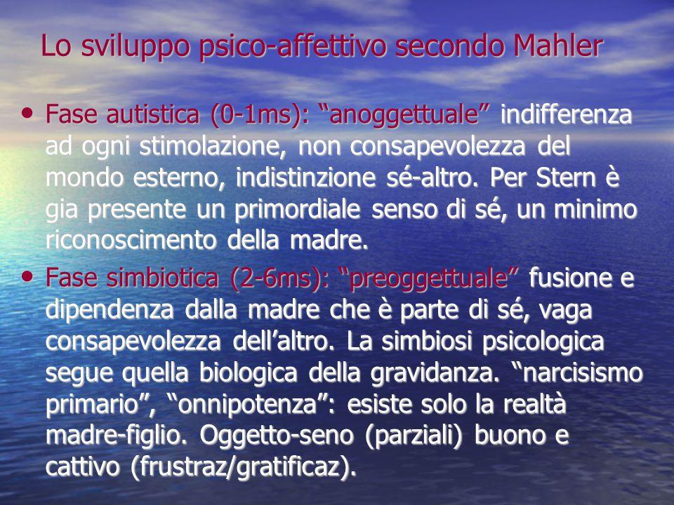 """Lo sviluppo psico-affettivo secondo Mahler Fase autistica (0-1ms): """"anoggettuale"""" indifferenza ad ogni stimolazione, non consapevolezza del mondo este"""