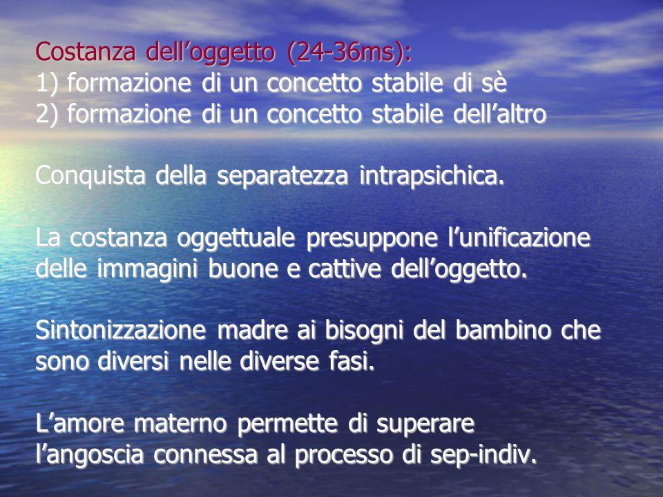 Costanza dell'oggetto (24-36ms): 1) formazione di un concetto stabile di sè 2) formazione di un concetto stabile dell'altro Conquista della separatezz