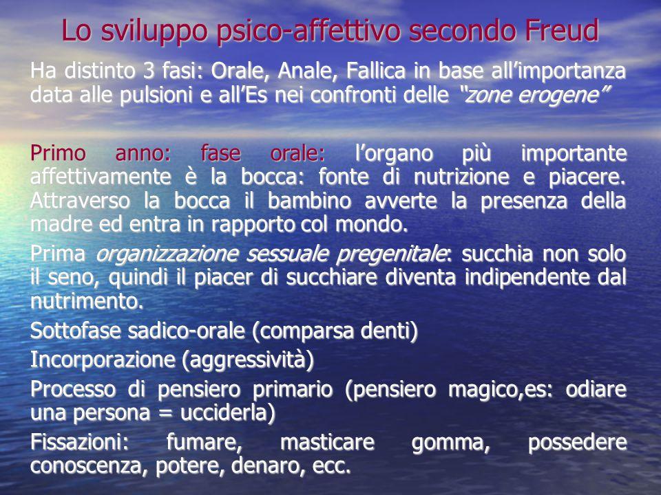 Lo sviluppo psico-affettivo secondo Freud Ha distinto 3 fasi: Orale, Anale, Fallica in base all'importanza data alle pulsioni e all'Es nei confronti d