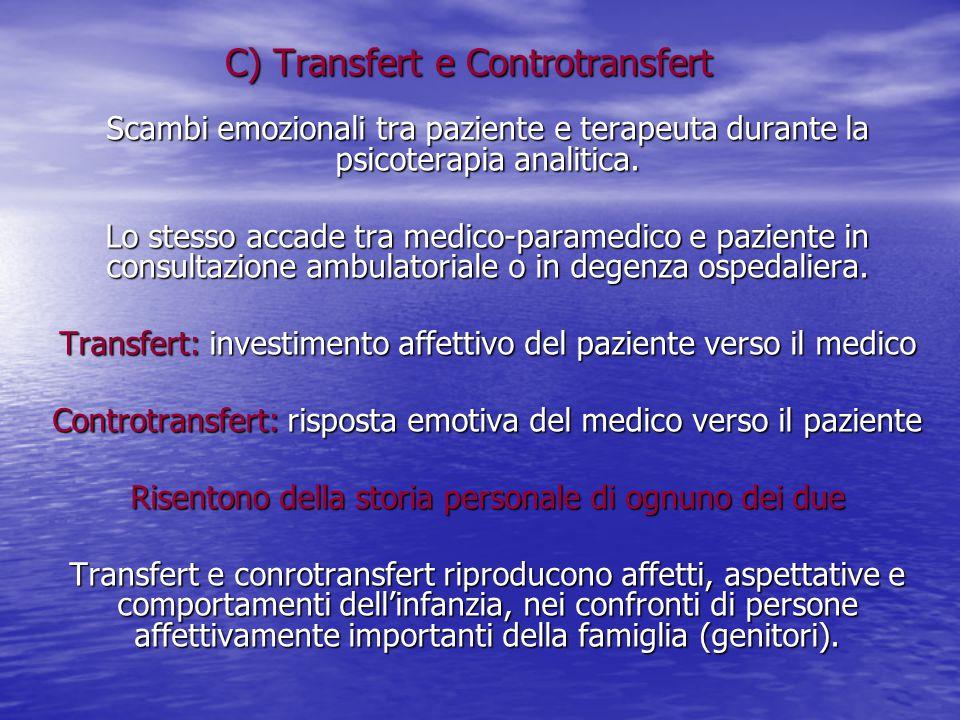 C) Transfert e Controtransfert Scambi emozionali tra paziente e terapeuta durante la psicoterapia analitica. Lo stesso accade tra medico-paramedico e