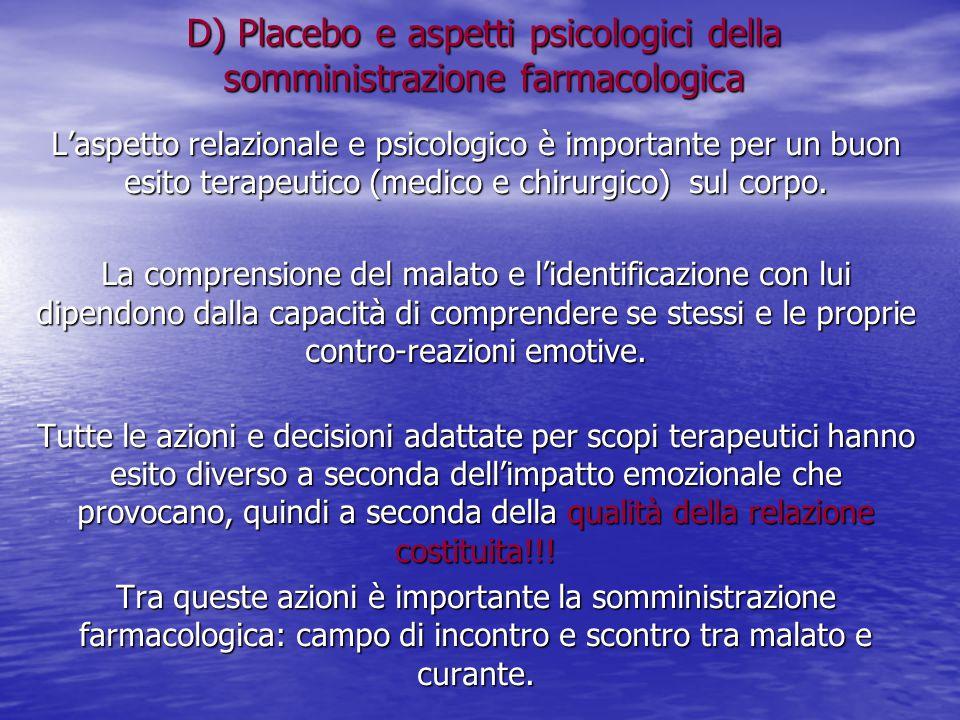 D) Placebo e aspetti psicologici della somministrazione farmacologica L'aspetto relazionale e psicologico è importante per un buon esito terapeutico (