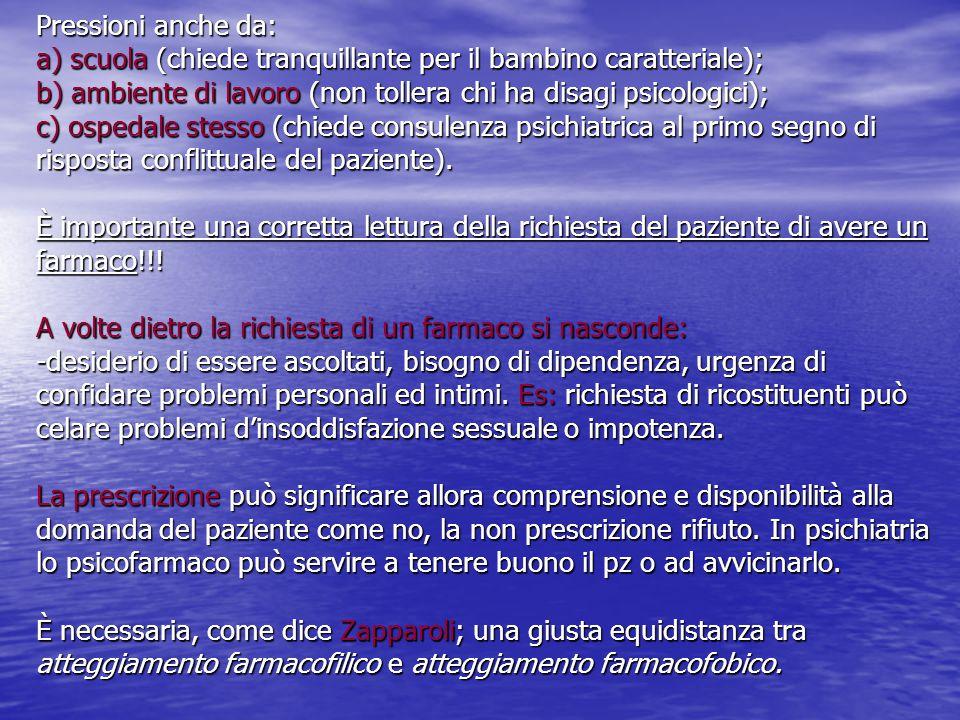 Pressioni anche da: a) scuola (chiede tranquillante per il bambino caratteriale); b) ambiente di lavoro (non tollera chi ha disagi psicologici); c) os