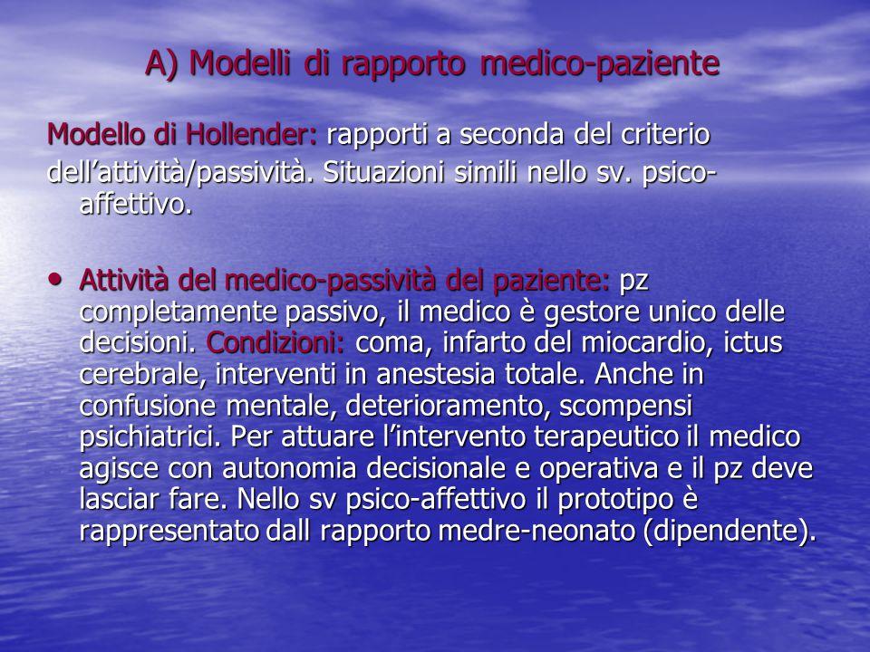 A) Modelli di rapporto medico-paziente Modello di Hollender: rapporti a seconda del criterio dell'attività/passività. Situazioni simili nello sv. psic
