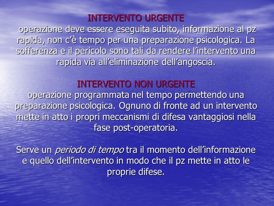 INTERVENTO URGENTE operazione deve essere eseguita subito, informazione al pz rapida, non c'è tempo per una preparazione psicologica. La sofferenza e