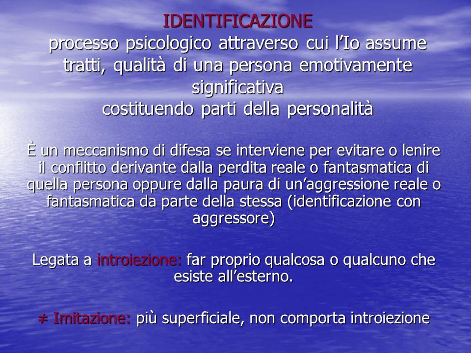IDENTIFICAZIONE processo psicologico attraverso cui l'Io assume tratti, qualità di una persona emotivamente significativa costituendo parti della pers