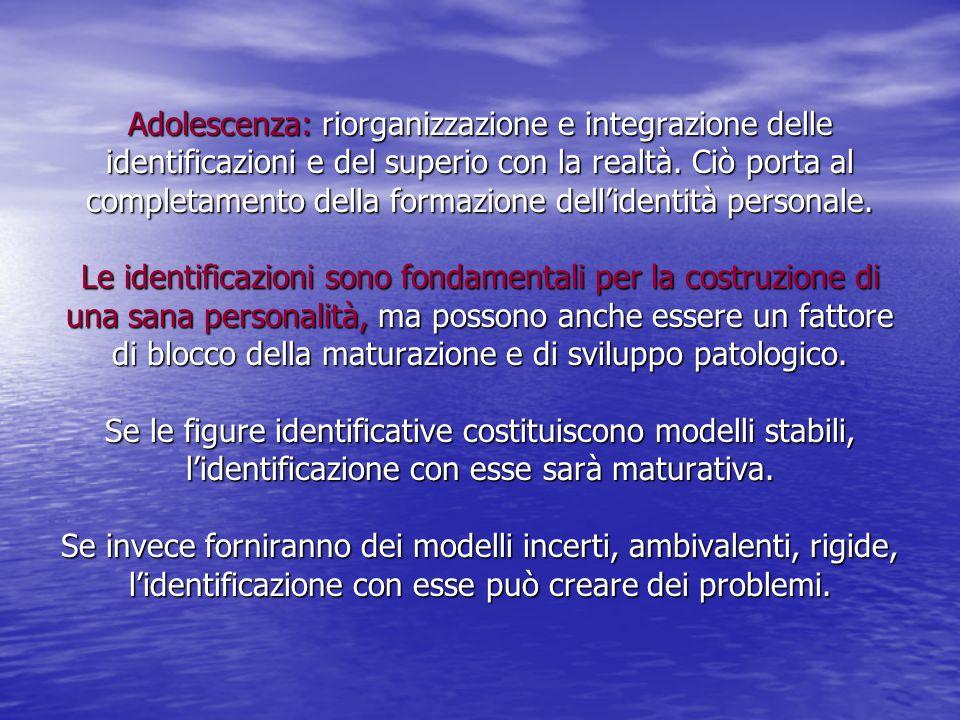 Adolescenza: riorganizzazione e integrazione delle identificazioni e del superio con la realtà. Ciò porta al completamento della formazione dell'ident