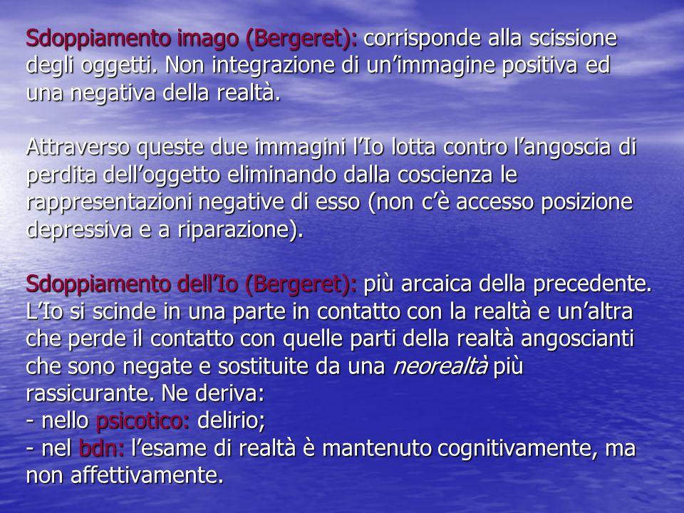 Sdoppiamento imago (Bergeret): corrisponde alla scissione degli oggetti. Non integrazione di un'immagine positiva ed una negativa della realtà. Attrav
