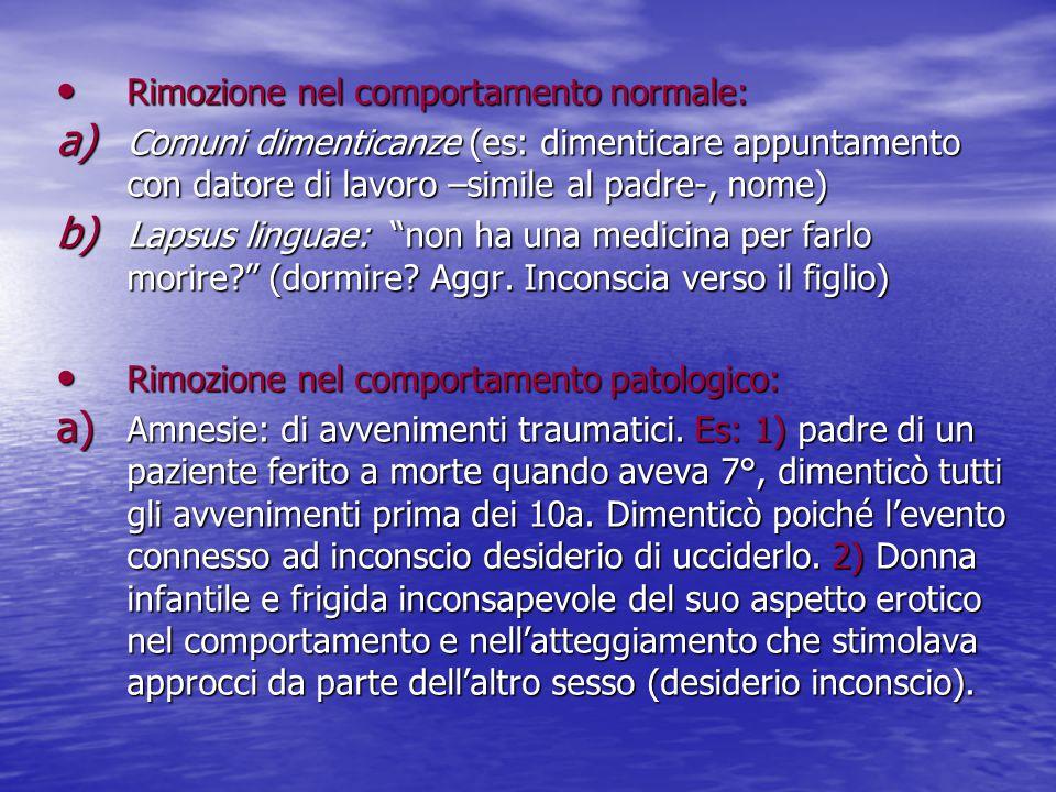 Rimozione nel comportamento normale: Rimozione nel comportamento normale: a) Comuni dimenticanze (es: dimenticare appuntamento con datore di lavoro –s