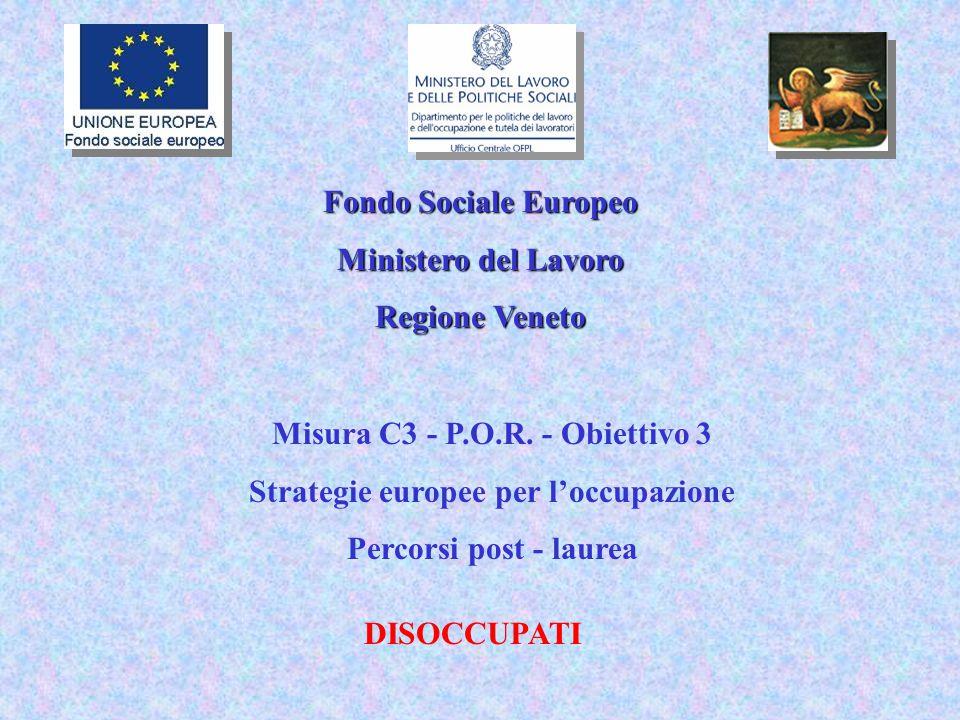 Fondo Sociale Europeo Ministero del Lavoro Regione Veneto Misura C3 - P.O.R.