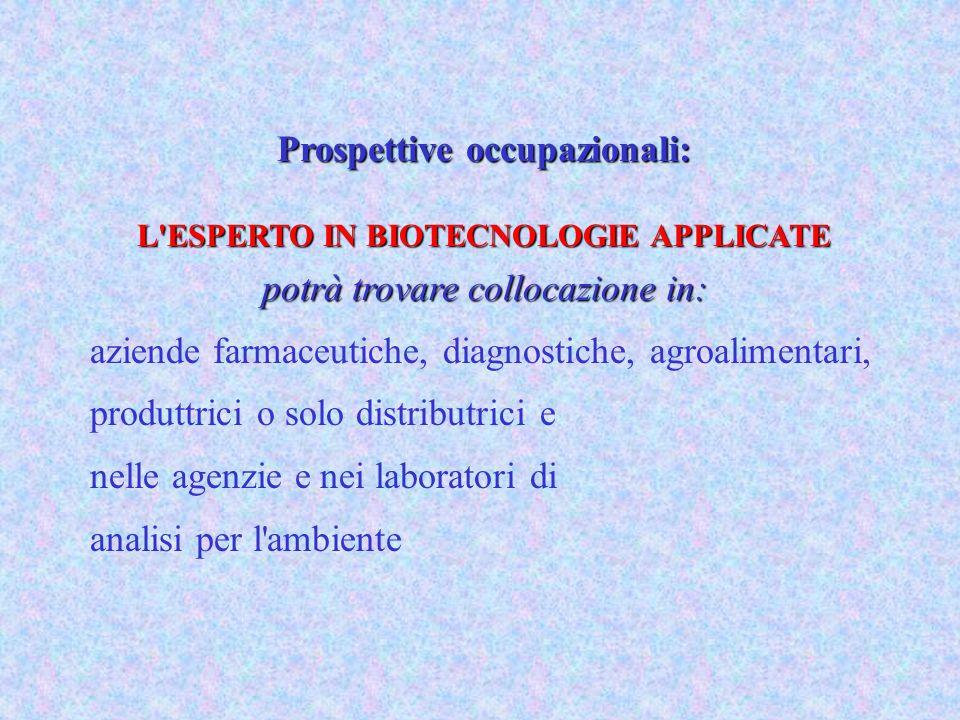 Prospettive occupazionali: L ESPERTO IN BIOTECNOLOGIE APPLICATE potrà trovare collocazione in: aziende farmaceutiche, diagnostiche, agroalimentari, produttrici o solo distributrici e nelle agenzie e nei laboratori di analisi per l ambiente