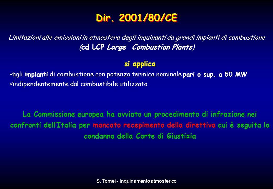 S. Tomei - Inquinamento atmosferico Dir. 2001/80/CE Limitazioni alle emissioni in atmosfera degli inquinanti da grandi impianti di combustione ( cd LC