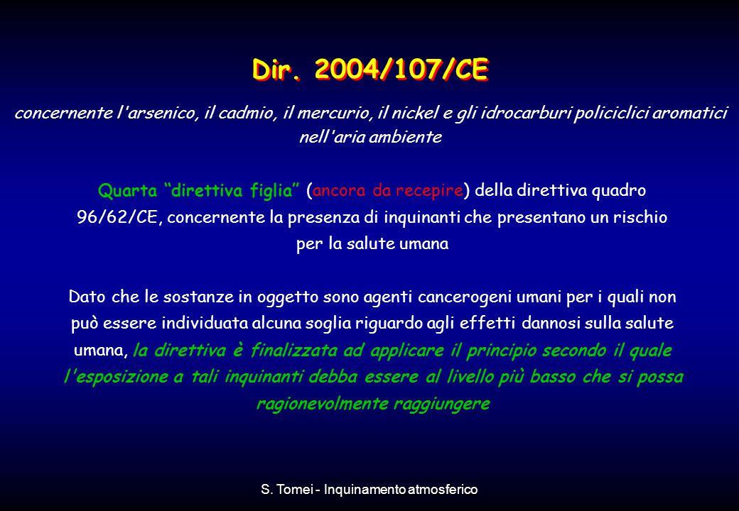 """S. Tomei - Inquinamento atmosferico Quarta """"direttiva figlia"""" (ancora da recepire) della direttiva quadro 96/62/CE, concernente la presenza di inquina"""