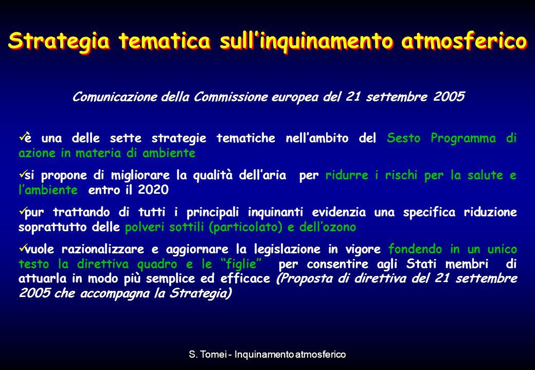 S. Tomei - Inquinamento atmosferico Strategia tematica sull'inquinamento atmosferico Comunicazione della Commissione europea del 21 settembre 2005 è u