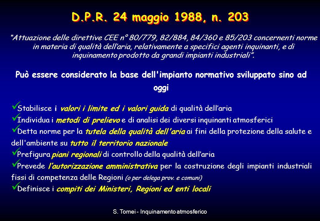 S. Tomei - Inquinamento atmosferico D.P.R. 24 maggio 1988, n. 203 Può essere considerato la base dell'impianto normativo sviluppato sino ad oggi Stabi
