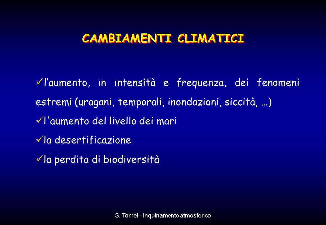 S. Tomei - Inquinamento atmosferico l'aumento, in intensità e frequenza, dei fenomeni estremi (uragani, temporali, inondazioni, siccità, …) l'aumento