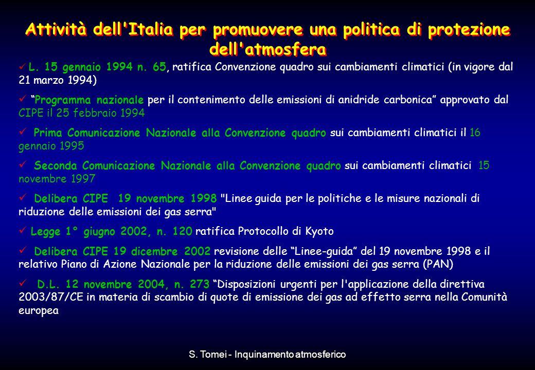 S. Tomei - Inquinamento atmosferico Attività dell'Italia per promuovere una politica di protezione dell'atmosfera L. 15 gennaio 1994 n. 65, ratifica C