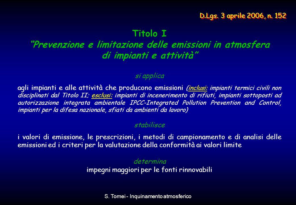 """S. Tomei - Inquinamento atmosferico Titolo I """"Prevenzione e limitazione delle emissioni in atmosfera di impianti e attività"""" si applica agli impianti"""