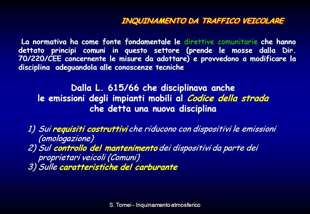S. Tomei - Inquinamento atmosferico Dalla L. 615/66 che disciplinava anche le emissioni degli impianti mobili al Codice della strada che detta una nuo