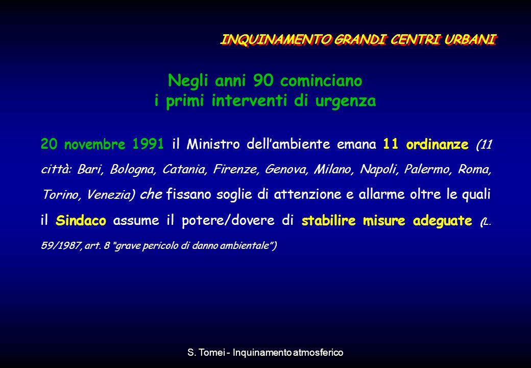 S. Tomei - Inquinamento atmosferico Negli anni 90 cominciano i primi interventi di urgenza 20 novembre 1991 il Ministro dell'ambiente emana 11 ordinan