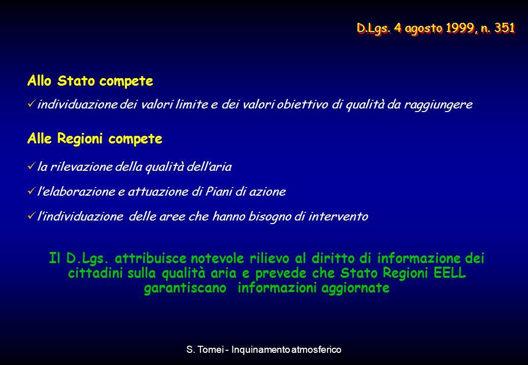 S. Tomei - Inquinamento atmosferico Allo Stato compete individuazione dei valori limite e dei valori obiettivo di qualità da raggiungere Alle Regioni